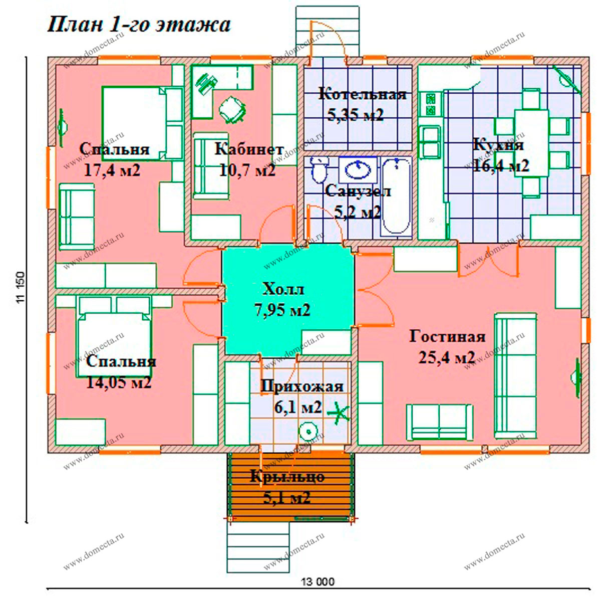 Одноэтажный дом 129 м2. План 1-го этажа