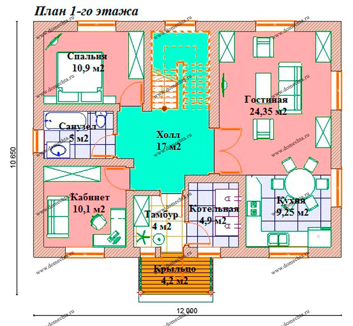 Дом из пеноблоков 134 м2. План 1-го этажа