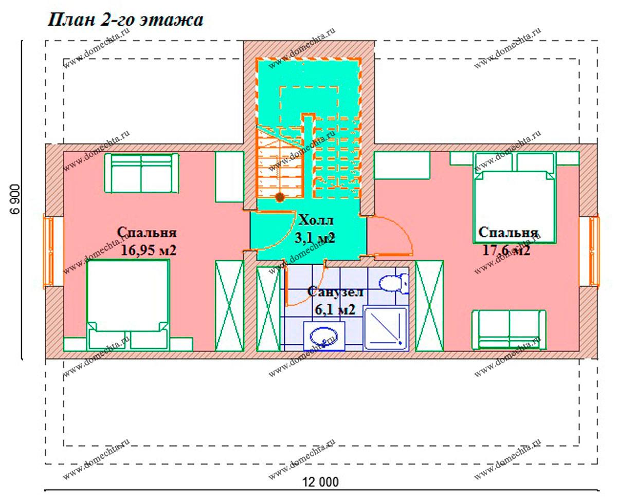 Дом из пеноблоков 134 м2. План 2-го этажа